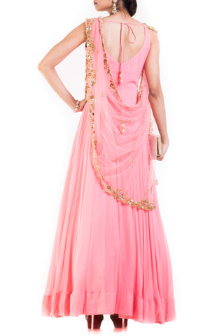 Pink long Suit With Attached Dupatta