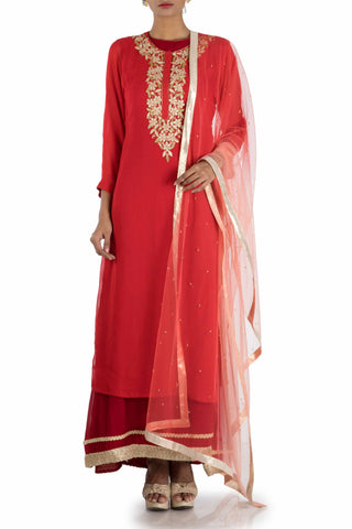 Rose Red Suit Set With Maroon Ankle Length Inner Front