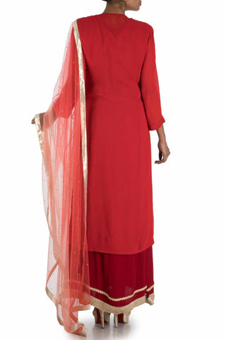 Rose Red Suit Set With Maroon Ankle Length Inner
