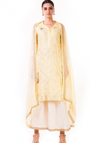 Light Yellow Kurta Set Front