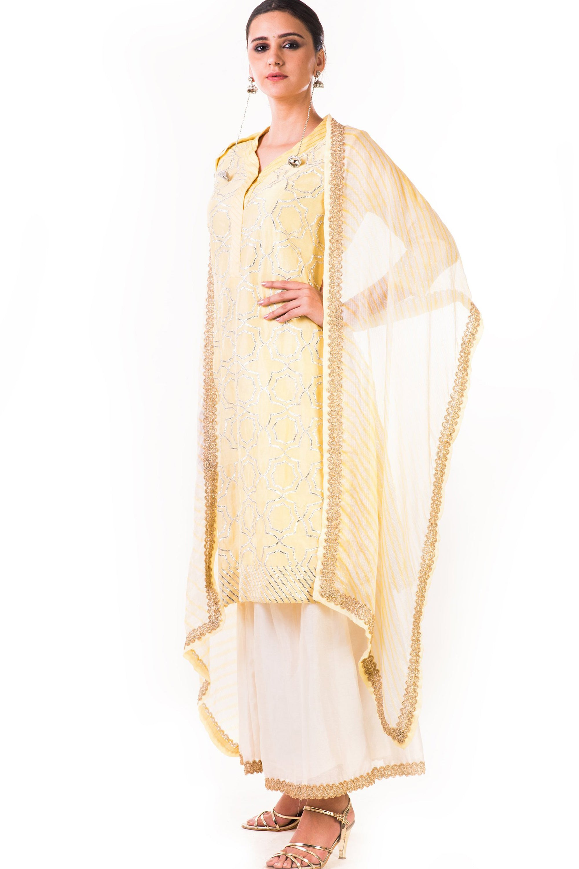 Light Yellow Kurta Set