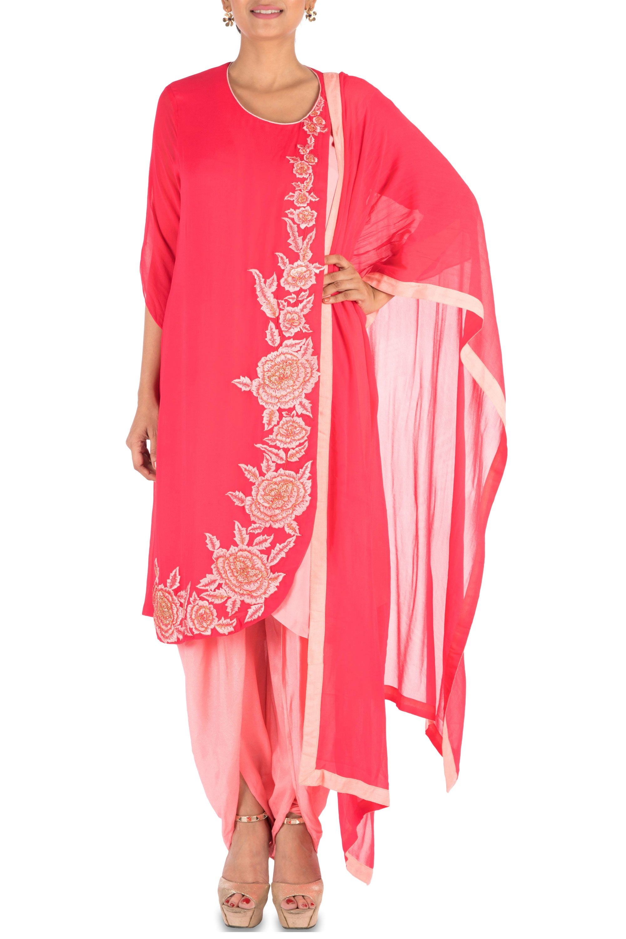 Overlapping Sweet Pink Suit Set With Dhoti Pants Front
