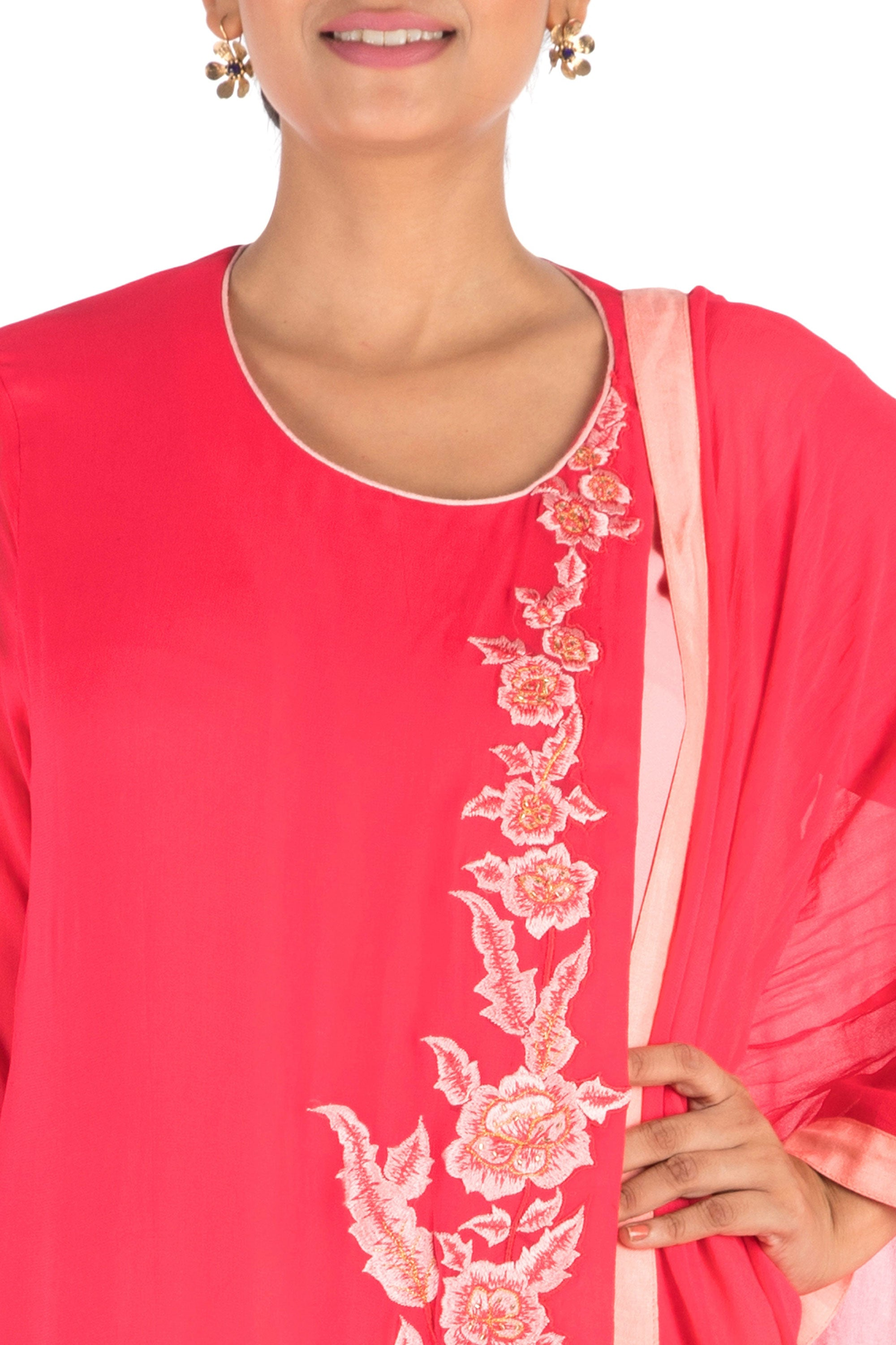 Overlapping Sweet Pink Suit Set With Dhoti Pants Closeup