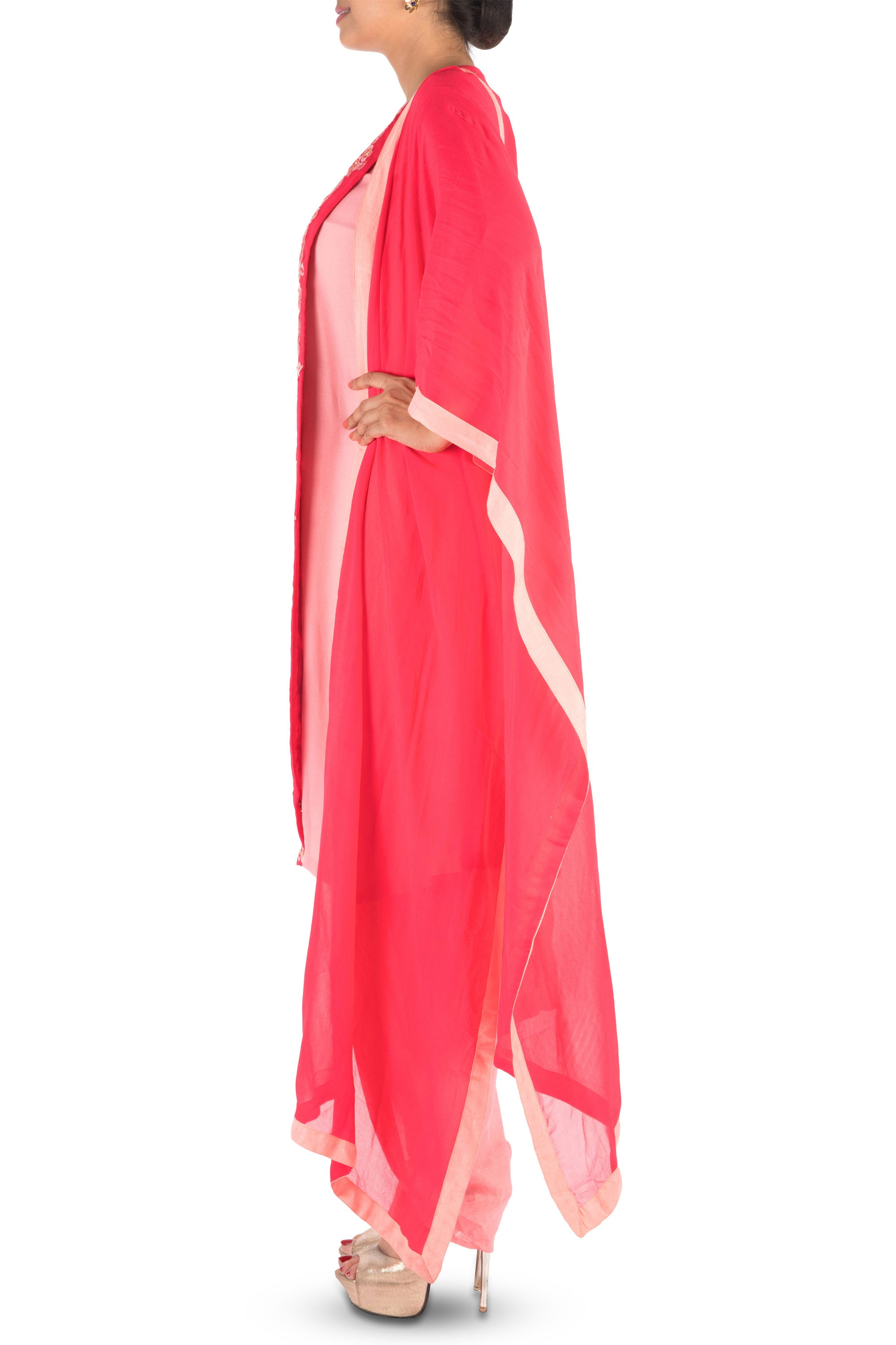 Overlapping Sweet Pink Suit Set With Dhoti Pants Side