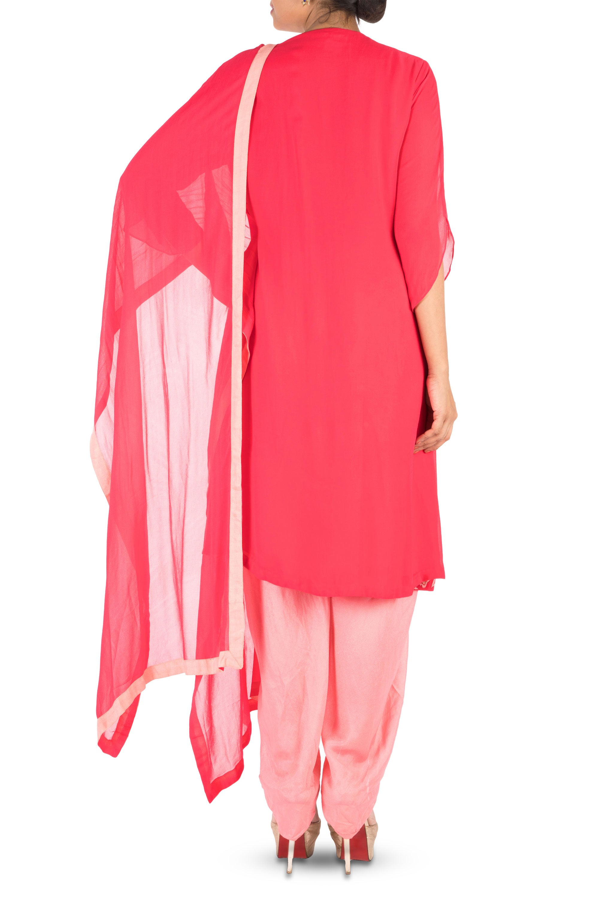Overlapping Sweet Pink Suit Set With Dhoti Pants Back