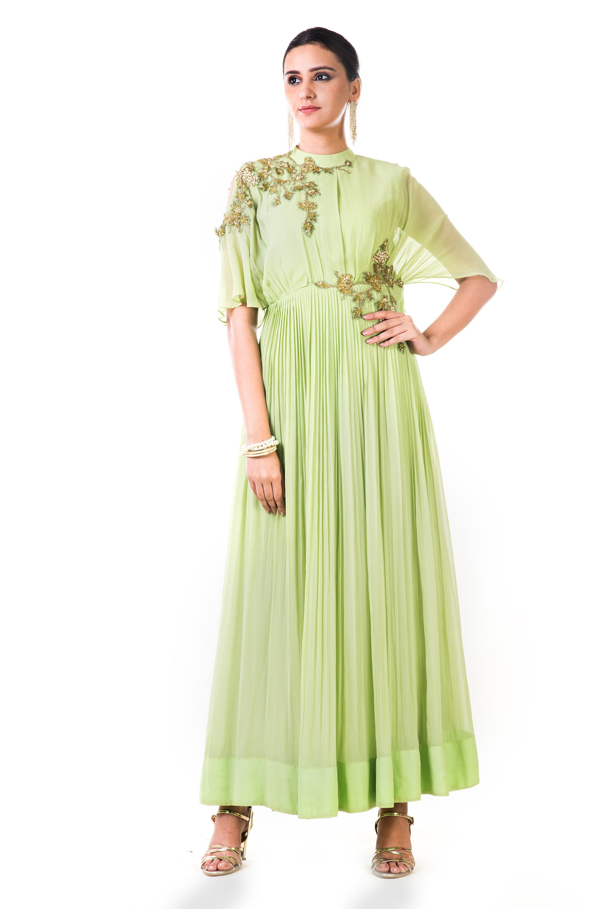 Green Overlapped Yoke Pleated Dress Front