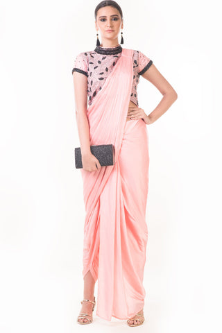 Peach Draped Dhoti & Patta Work Croptop Front