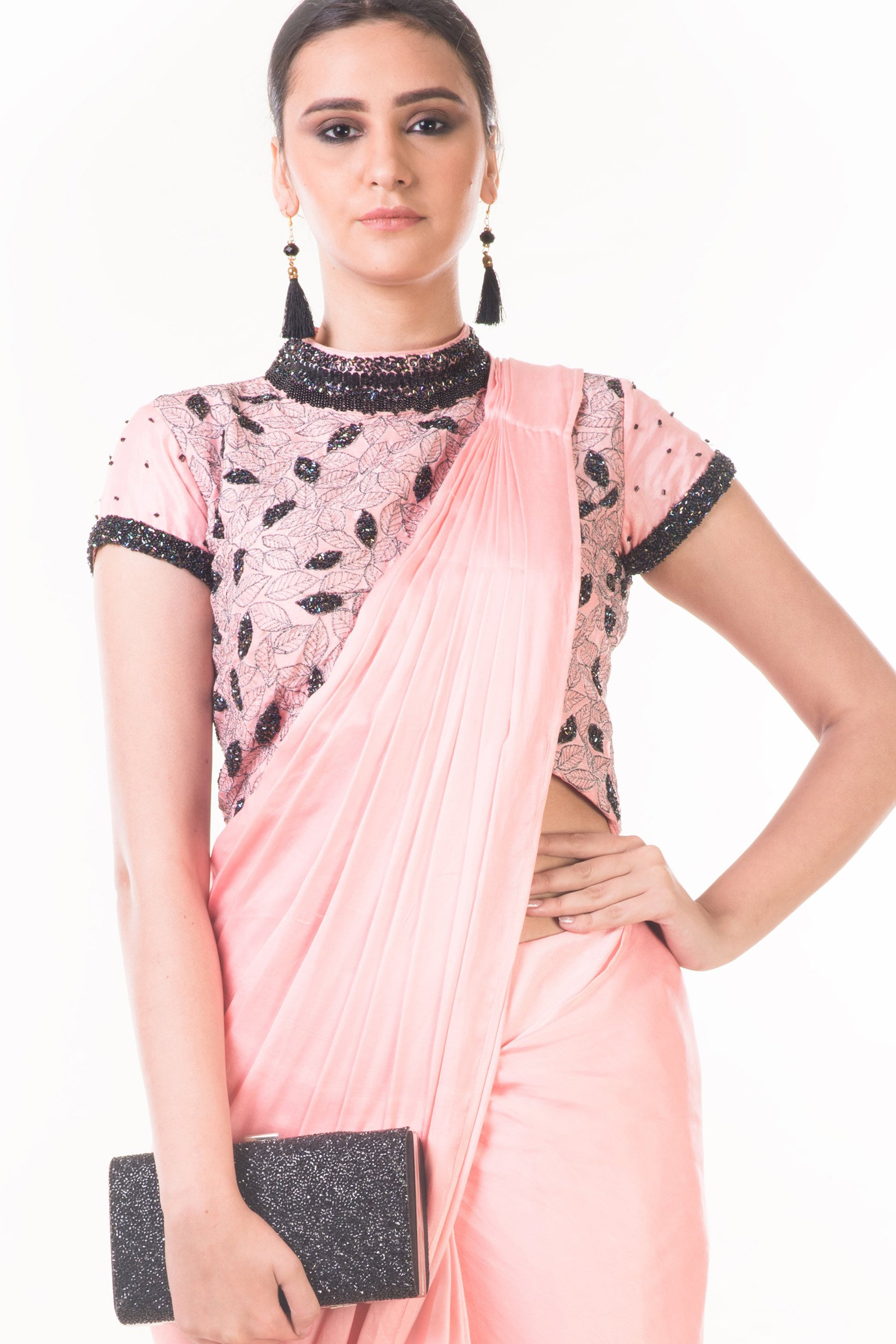 Peach Draped Dhoti & Patta Work Crop top CloseUp
