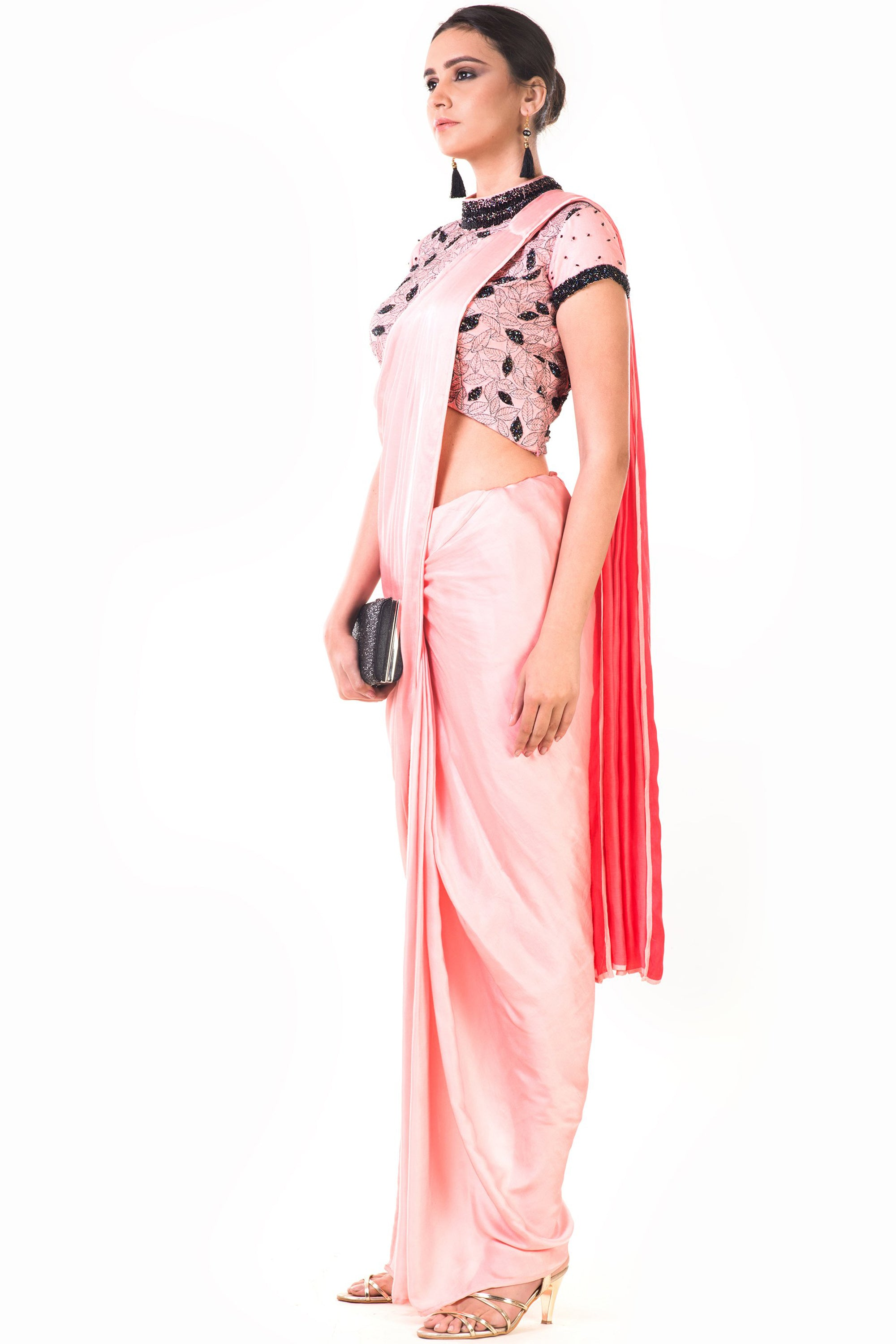 Peach Draped Dhoti & Patta Work Crop top Side