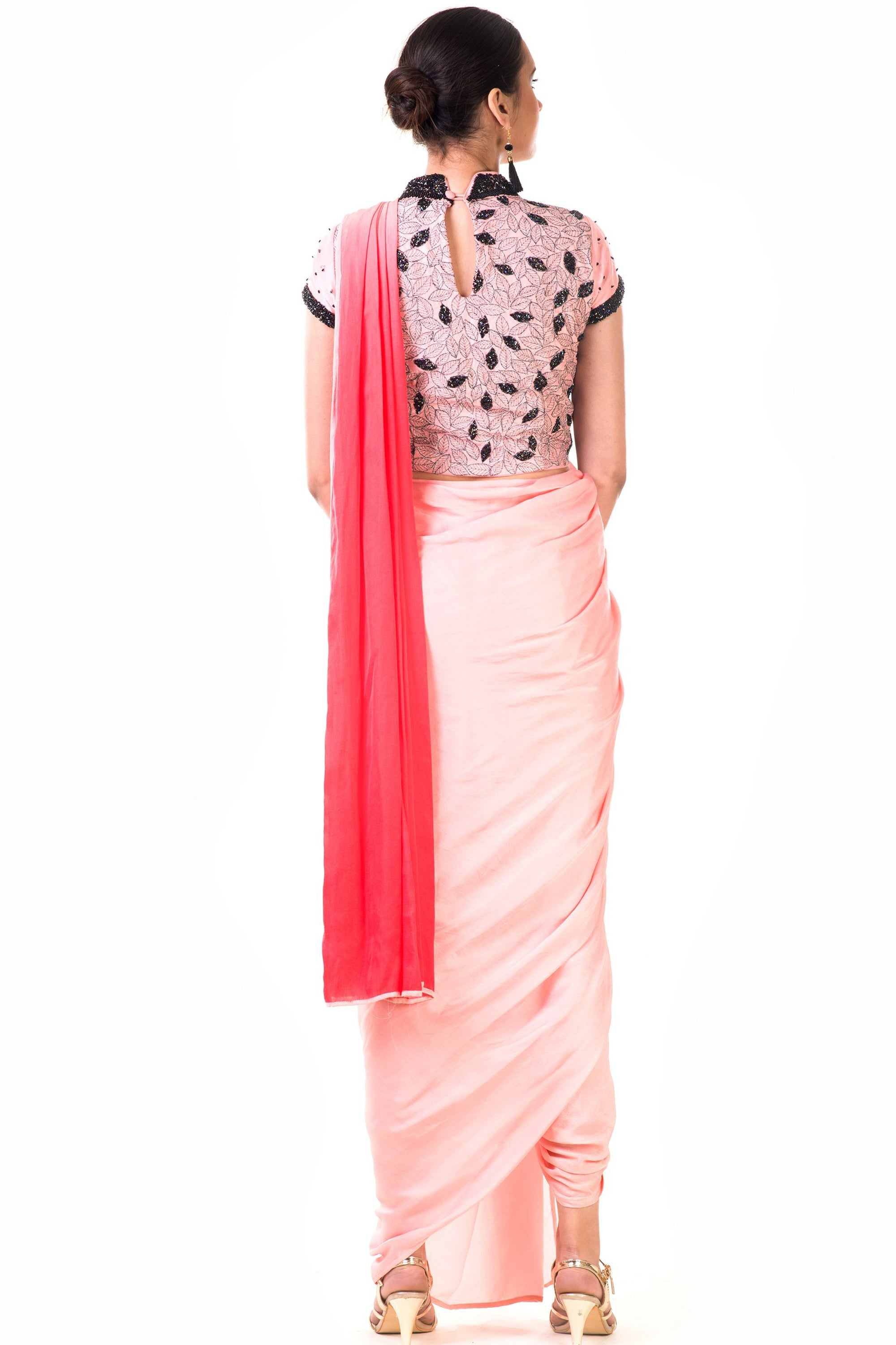 Peach Draped Dhoti & Patta Work Crop top Back