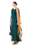 Bottle Green Double Layer Dress Side