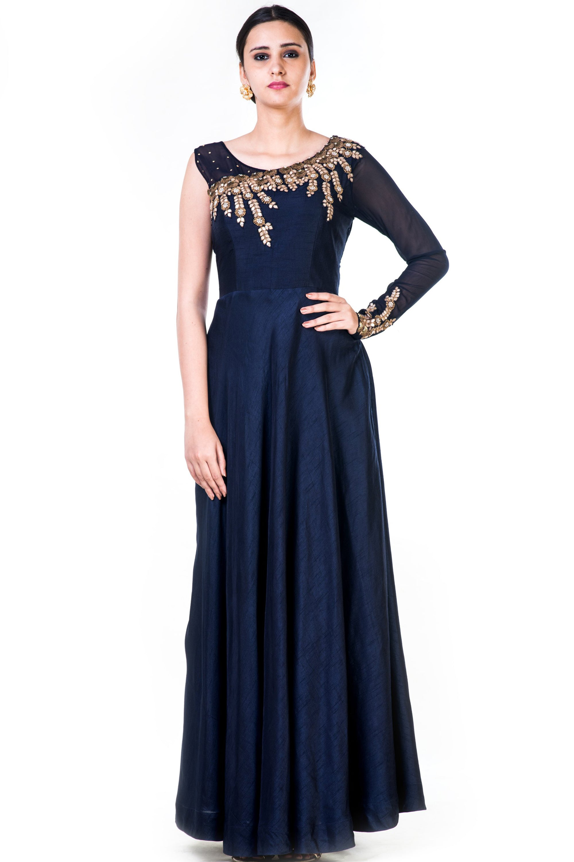 Embroidered Navy Blue One Side Full Sleeves Gown Front