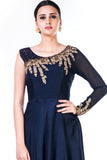 Embroidered Navy Blue One Side Full Sleeves Gown CloseUp