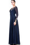 Embroidered Navy Blue One Side Full Sleeves Gown Side