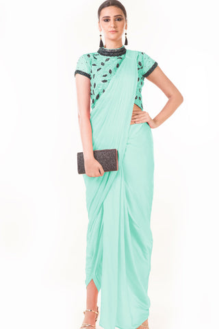 Mint Green Draped Dhoti & Patta Work Crop Top Front