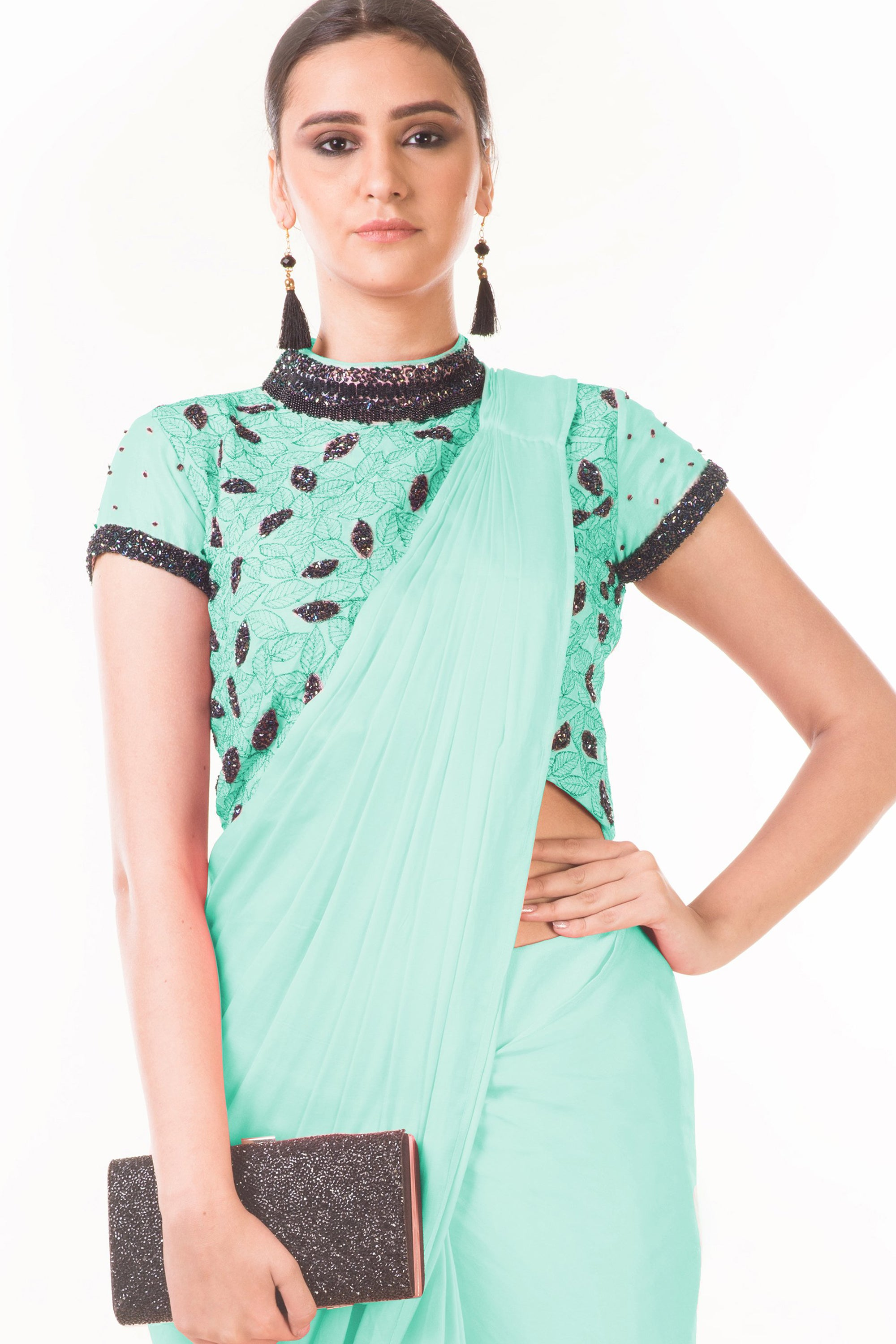Mint Green Draped Dhoti & Patta Work Crop Top CloseUp