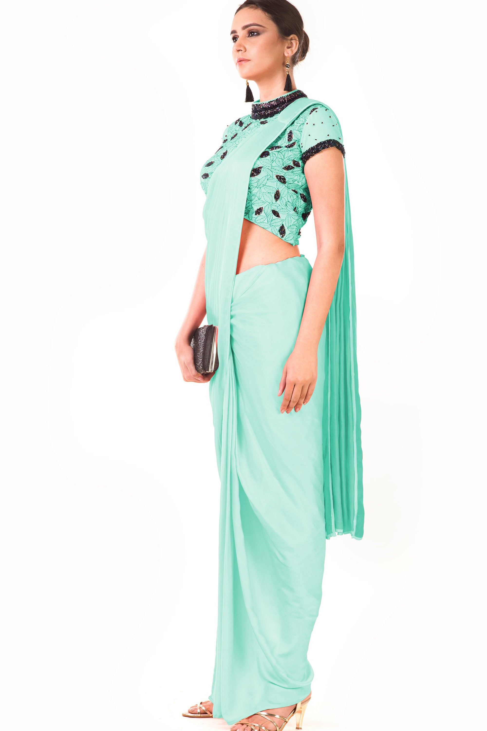 Mint Green Draped Dhoti & Patta Work Crop Top Side