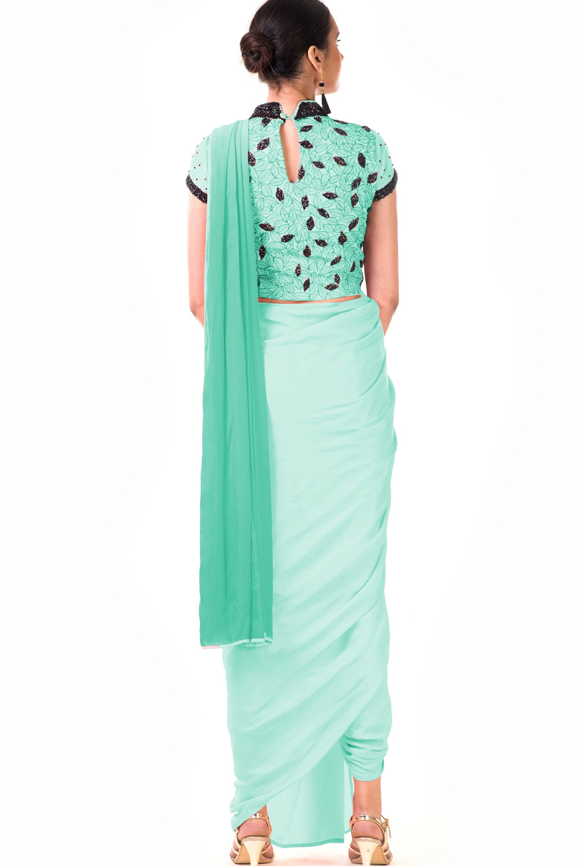 Mint Green Draped Dhoti & Patta Work Crop Top Back