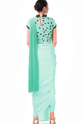 Mint Green Draped Dhoti & Patta Work Crop Top