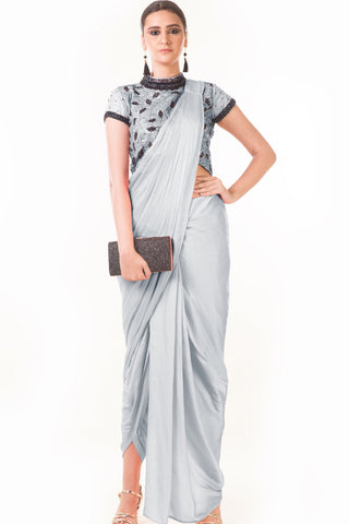 Grey Draped Dhoti & Patta Work Crop Top Front