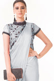 Grey Draped Dhoti & Patta Work Crop Top CloseUp