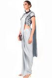 Grey Draped Dhoti & Patta Work Crop Top Side