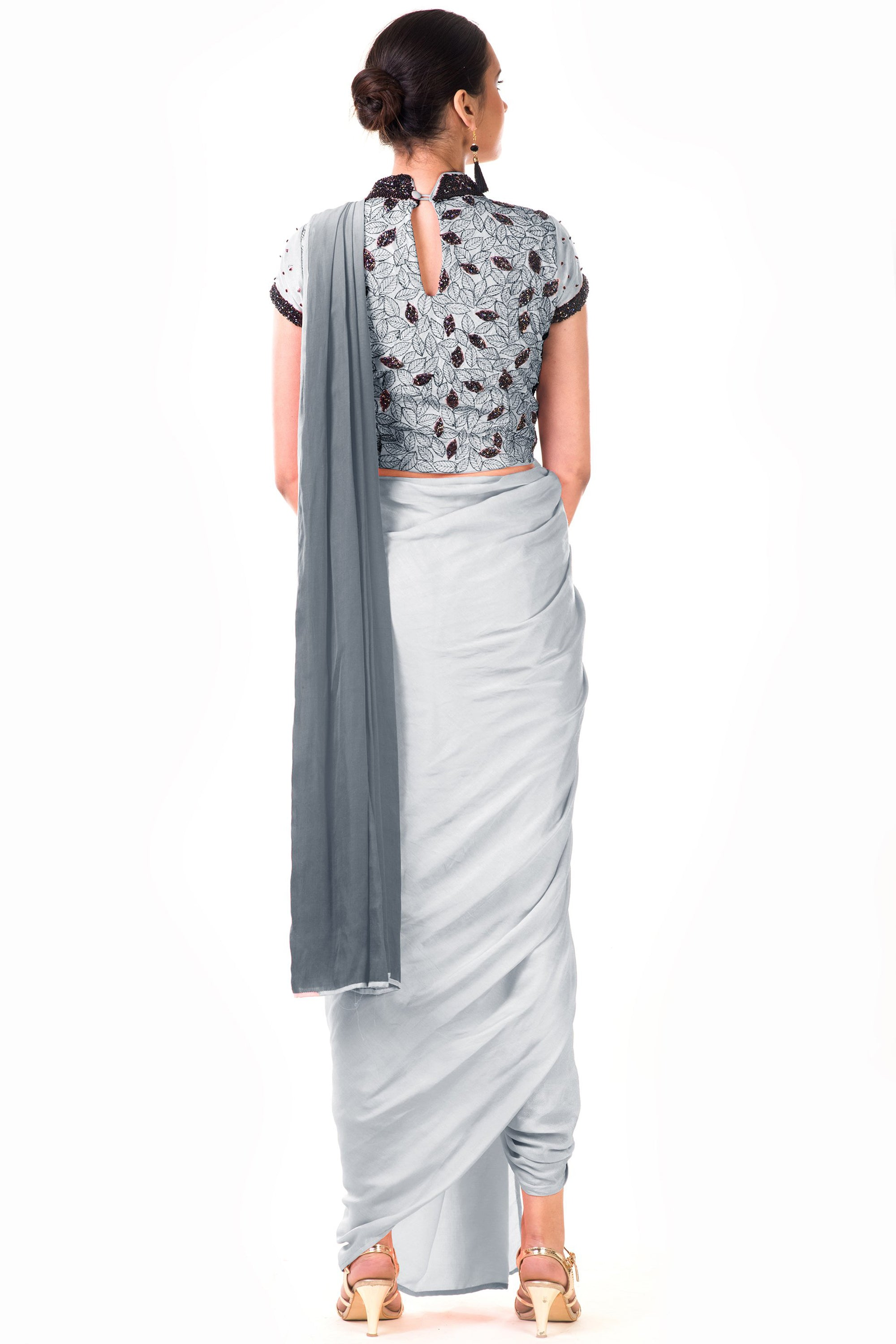 Grey Draped Dhoti & Patta Work Crop Top Back