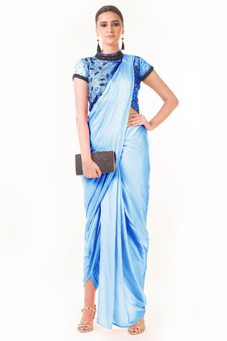 Powder Blue Draped Dhoti & Patta Work Crop Top Front