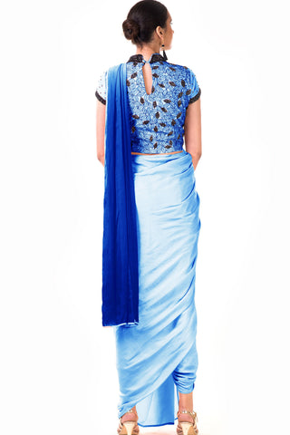 Powder Blue Draped Dhoti & Patta Work Crop Top