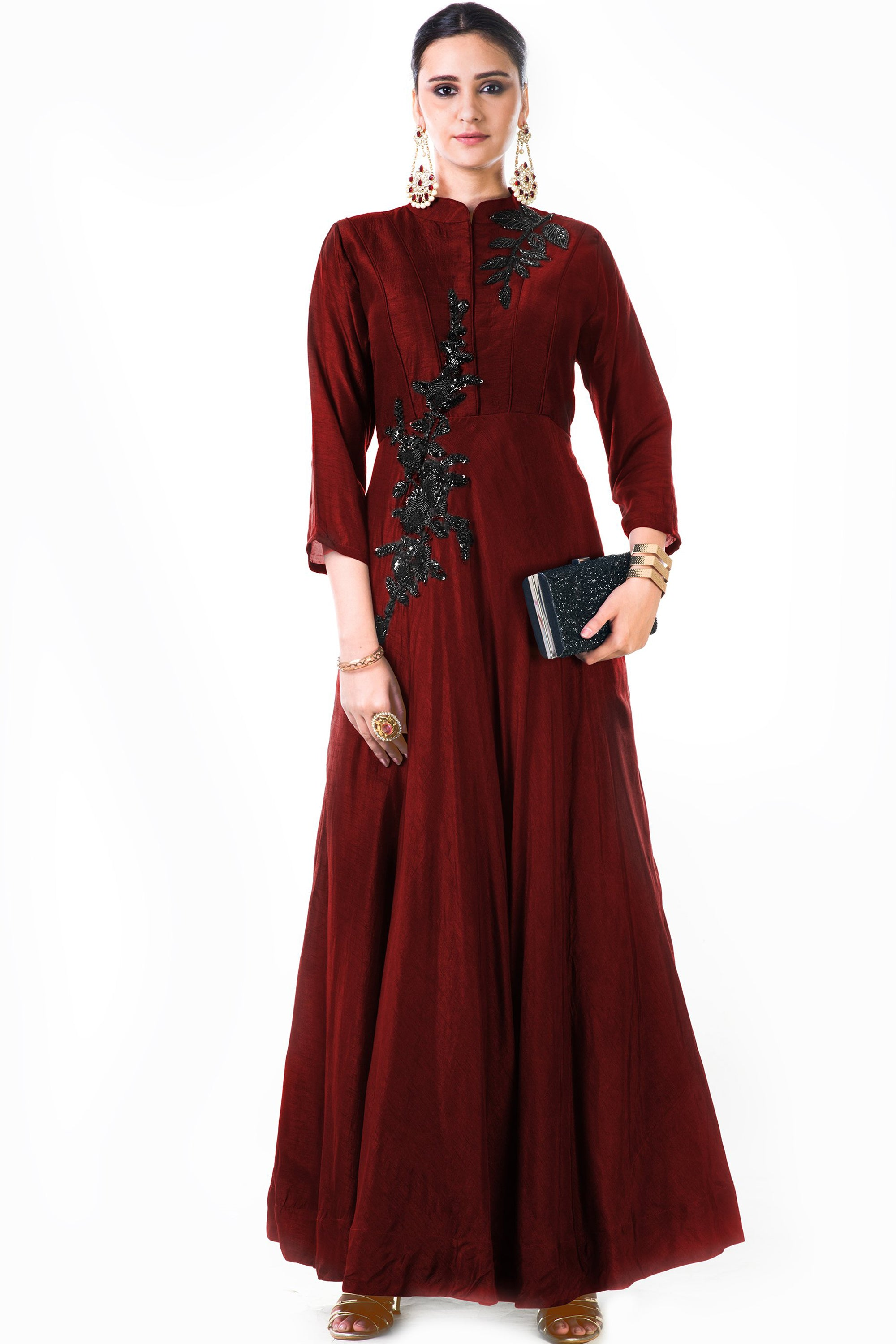 Maroon Silk Panel Dress Front