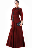 Maroon Silk Panel Dress Side