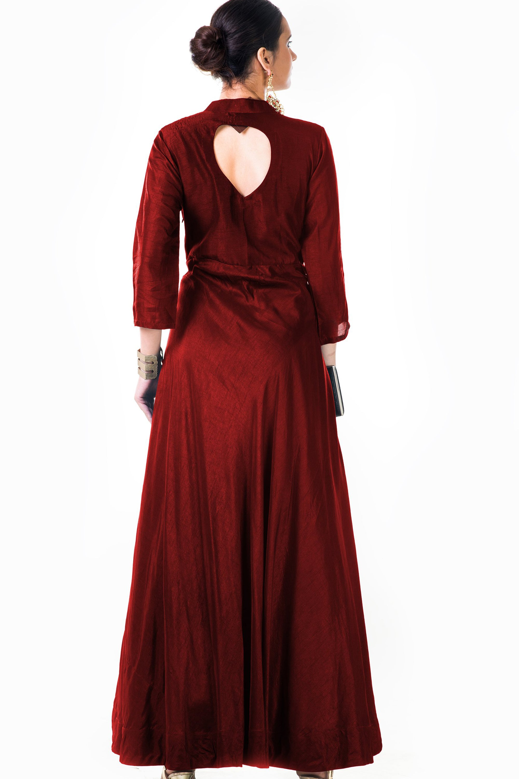 Maroon Silk Panel Dress Back