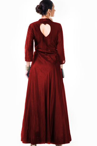 Maroon Silk Panel Dress