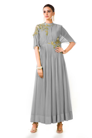 Grey Overlapped Yoke Pleated Dress Front