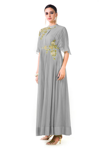 Grey Overlapped Yoke Pleated Dress