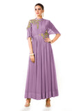 Lavender Overlapped Yoke Pleated Dress Front