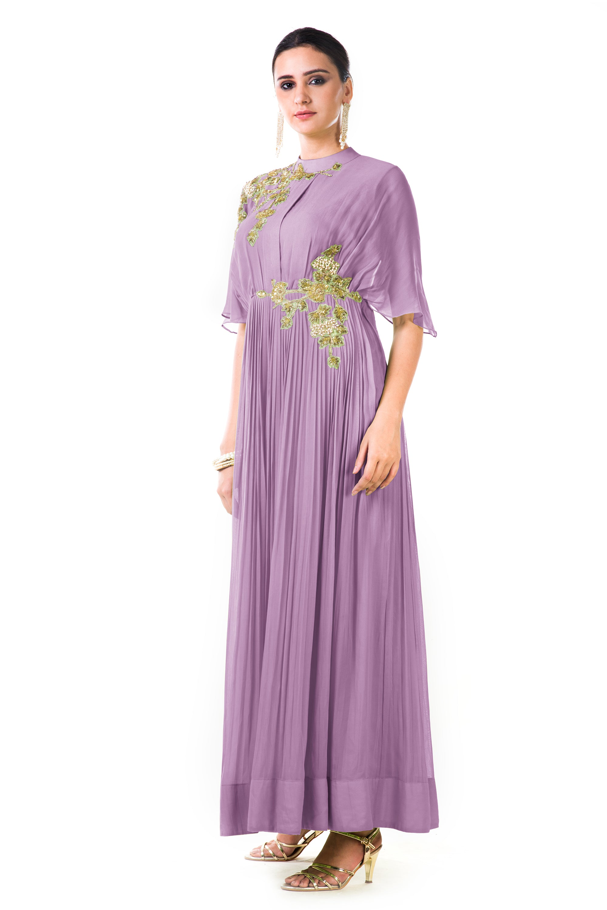 Lavender Overlapped Yoke Pleated Dress Side