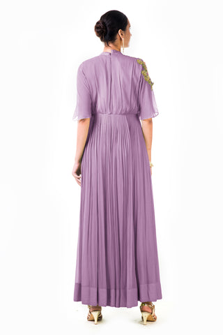 Lavender Overlapped Yoke Pleated Dress