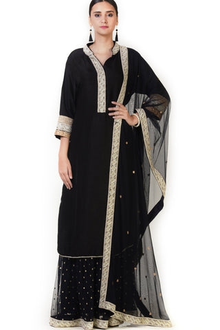 Hand Embroidered Black Silk Double Layer Anarkali Suit Front