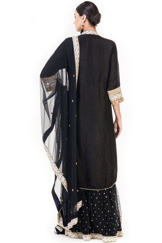 Hand Embroidered Black Silk Double Layer Anarkali Suit