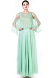 Green Sequin Work Cold Shoulder Cape Style Gown Front
