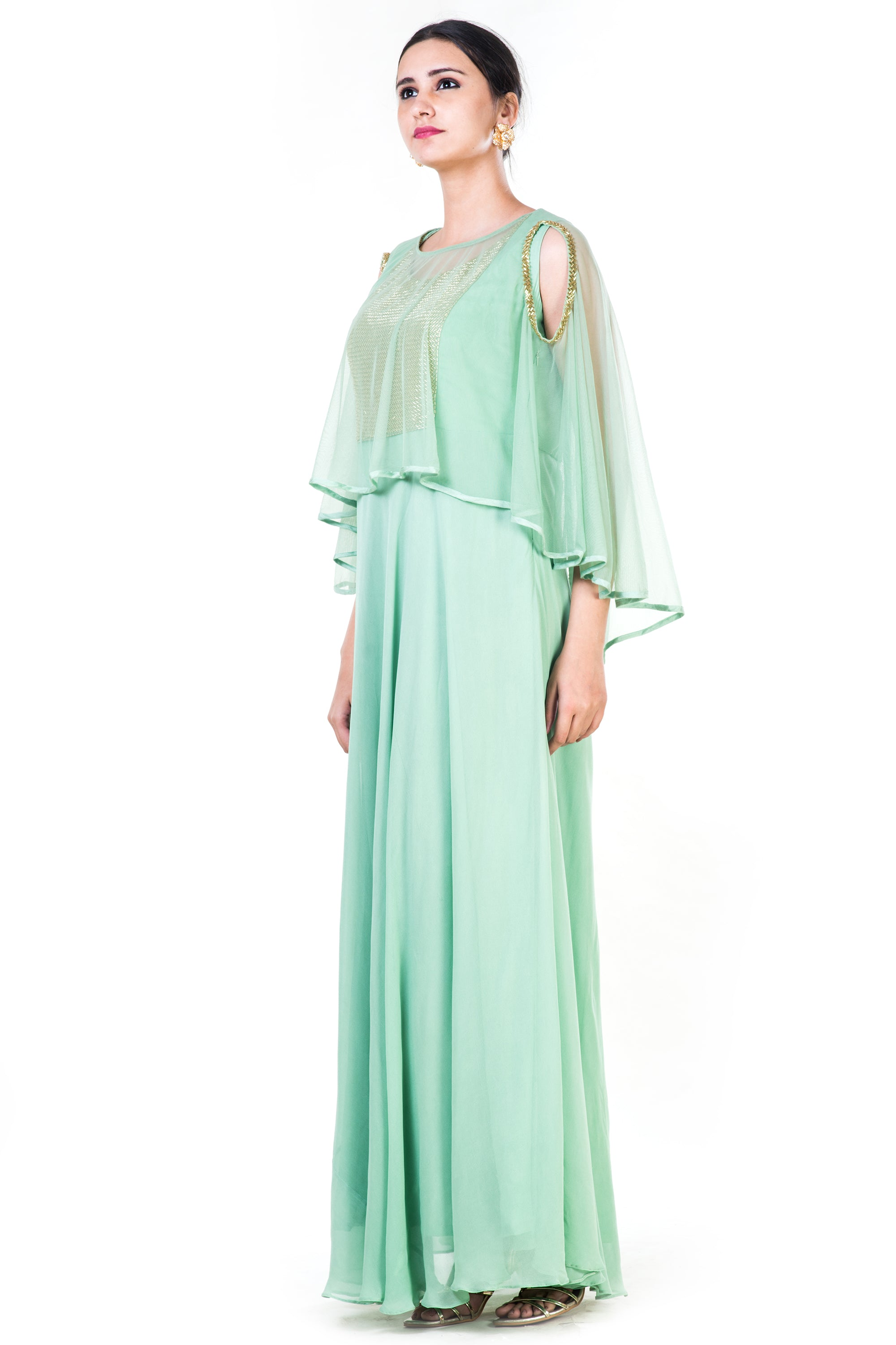 Green Sequin Work Cold Shoulder Cape Style Gown Side