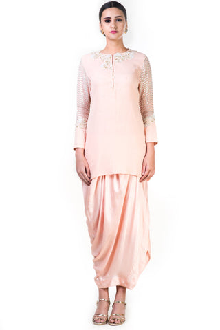 Embroidered Blush Peach Top & Draped Skirt Front