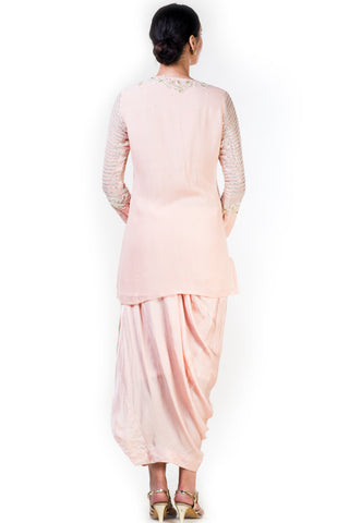 Embroidered Blush Peach Top & Draped Skirt