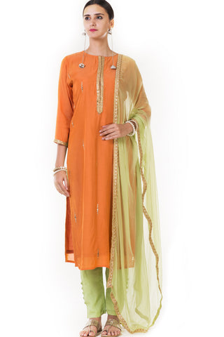 Orange Silk Kurti & Straight Pant Salwar Suit Set with Dupatta Front