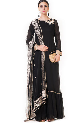 Black Embroidered Anarkali Suit Front