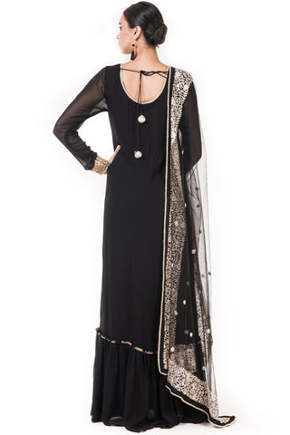 Black Embroidered Anarkali Suit