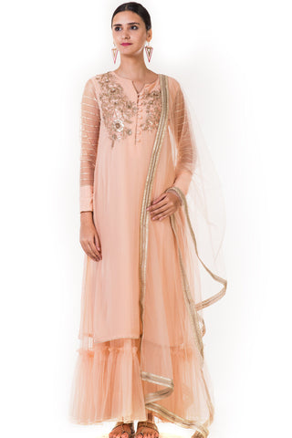 Embroidered Peach Sharara Style Tunic With a Dupatta Front