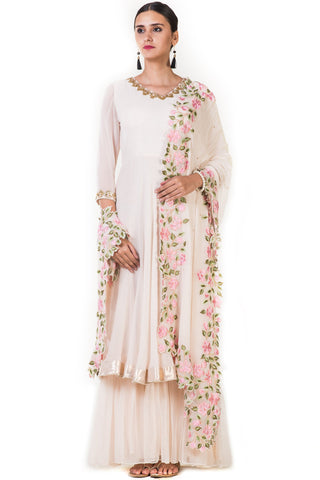 Beige Embroidered Double Layer Anarkali Suit Front