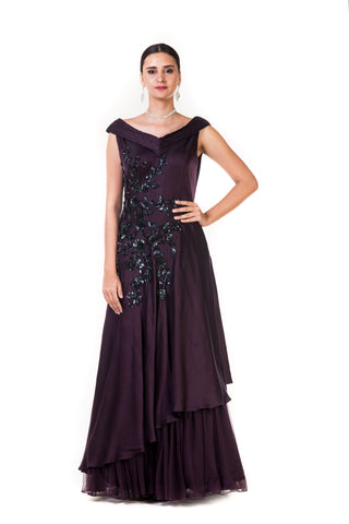 Purple Embroidered Asymmetrical Layered Drape Gown FRONT